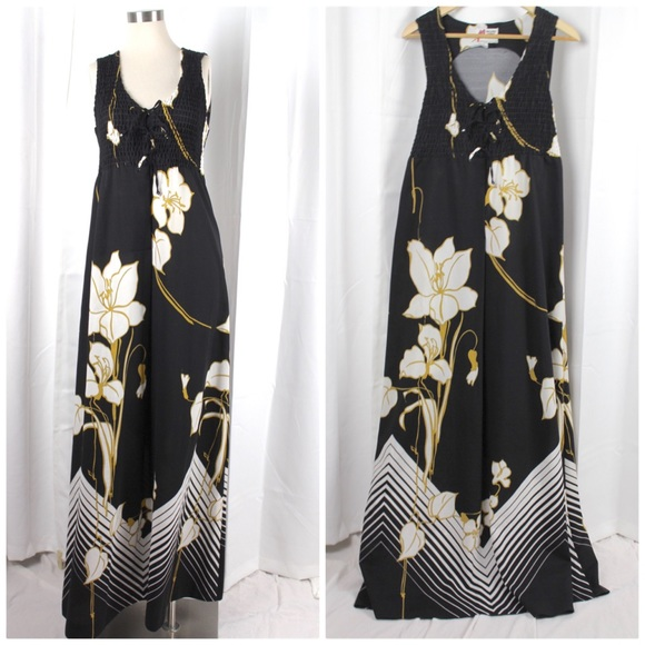 Vintage Dresses & Skirts - Malihini Hawaii Designer's Collection Black Maxi